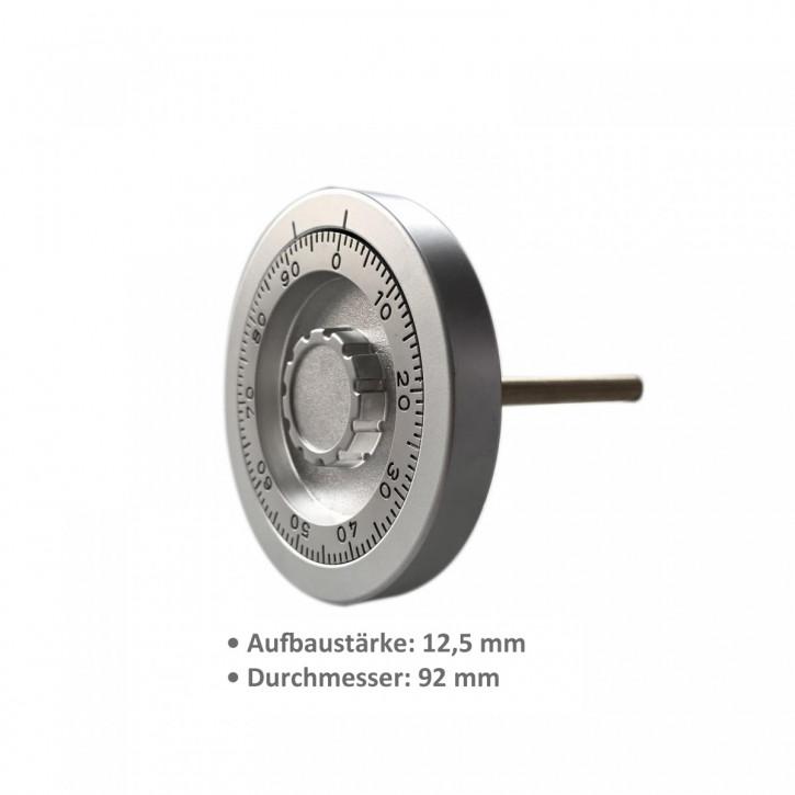 Zahlenknopfgarnitur mit Spindel 100 mm, eingelassene oder aufgesetzte Montage in zyl. Senkloch