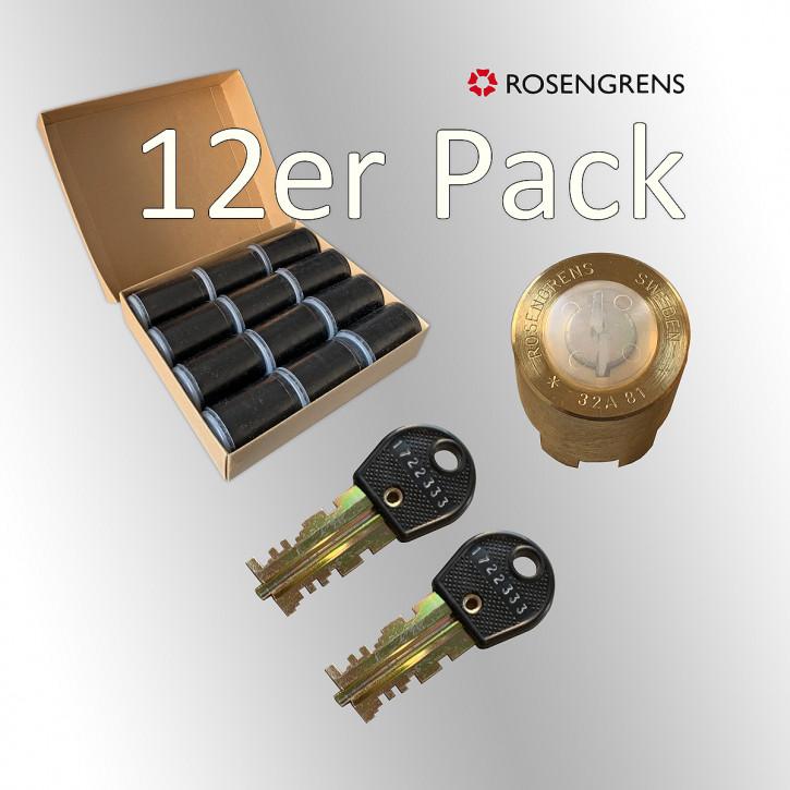 Rosengrens MF-Zylinder 12 Stück - 32 A 81 rund Mietfachschloss gold, messing - alte Ausführung, Neuware