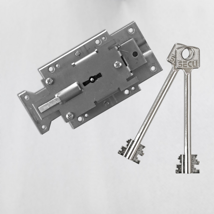 SECU S1000 rechts - Serie S Sicherheitsschloss Doppelbartschloss Tresorschloss z.B. diverse Burgwächter mit 120 mm Schlüsseln (mittel)