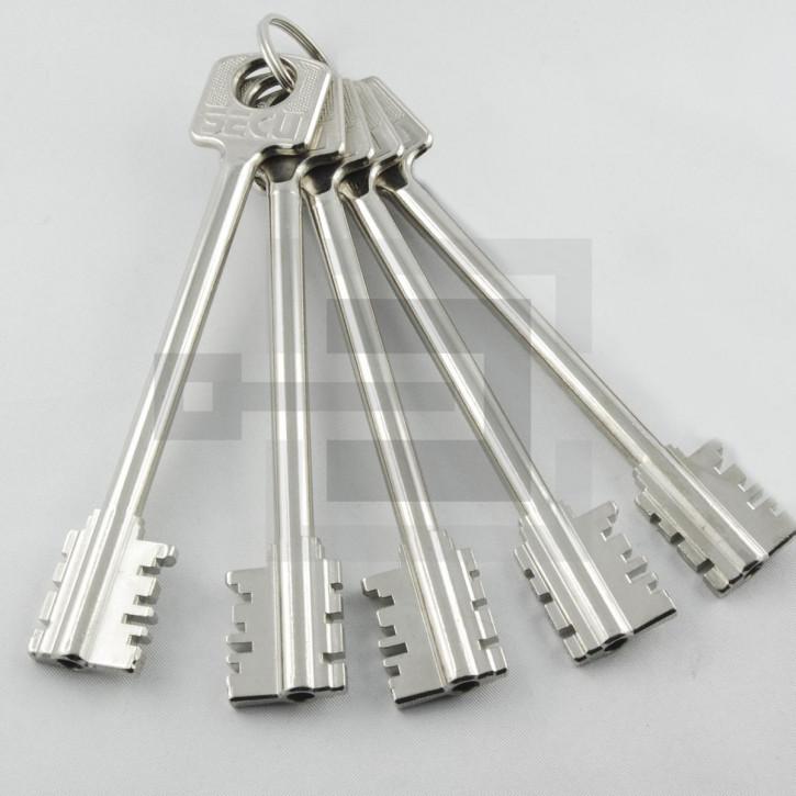 5x Tresorschlüssel (mittel / ca. 124,5 mm) für umstellbares Tresorschloss S2700U / S4700U SECU + Burgwächter