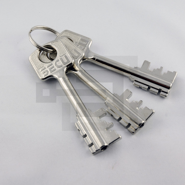 Set 3x Tresorschlüssel (klein) für umstellbares Tresorschloss SECU + Burgwächter