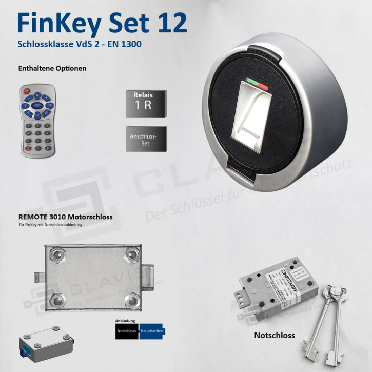 Carl Wittkopp FinKey Set 12 Fingerprint biometrisches Tresorschloss Fingerabdruck, Cawi