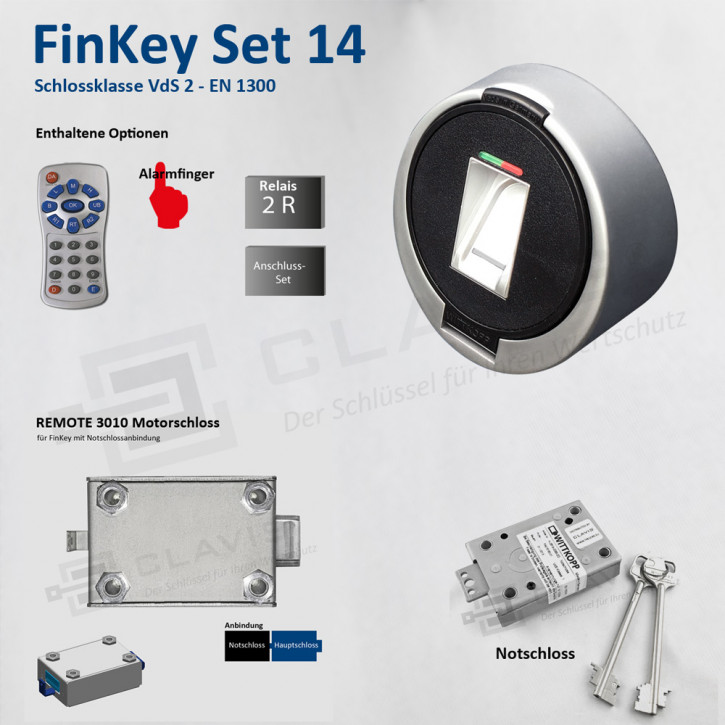 Carl Wittkopp FinKey Set 14 Fingerprint biometrisches Tresorschloss Fingerabdruck, Cawi