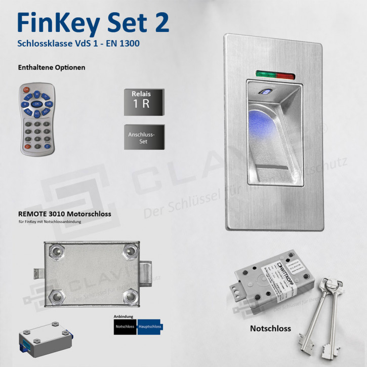 Carl Wittkopp FinKey Set 2 Fingerprint biometrisches Tresorschloss Fingerabdruck, Cawi
