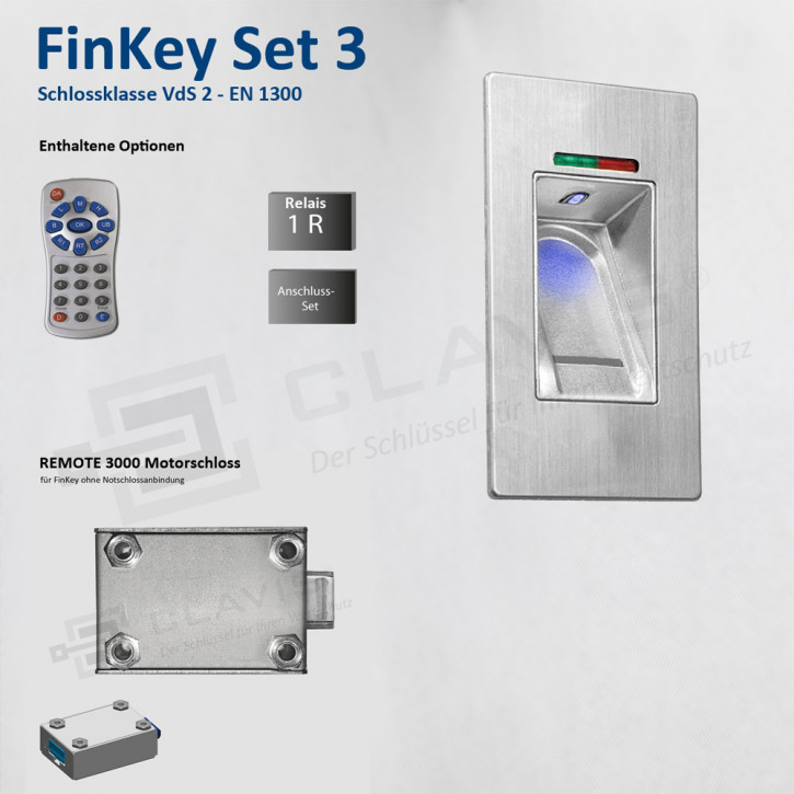 Carl Wittkopp FinKey Set 3 Fingerprint biometrisches Tresorschloss Fingerabdruck, Cawi