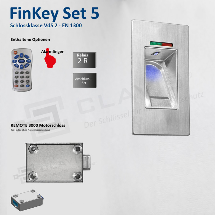 Carl Wittkopp FinKey Set 5 Fingerprint biometrisches Tresorschloss Fingerabdruck, Cawi