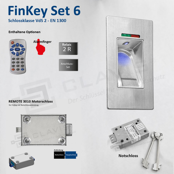 Carl Wittkopp FinKey Set 6 Fingerprint biometrisches Tresorschloss Fingerabdruck, Cawi