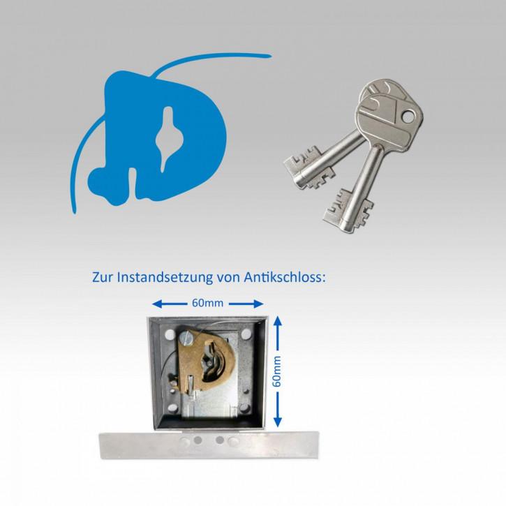 Zuhaltungssatz einzeln, zur Instandsetzung Antikschloss (60 x 60 / 44,5 mm), neue Schliessung, inkl. 2 neuen Schlüsseln
