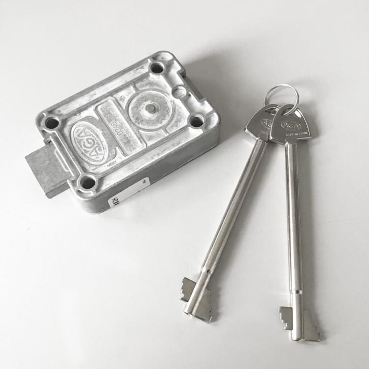 AGA Tresorschloss mit 2 Schlüsseln: 130 mm Druckguss
