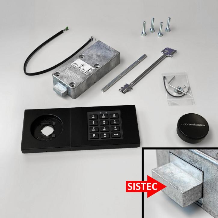 dormakaba Combi B30 Set - 82132 Kaba Mauer B 30, Notschlüssel, Eingabeeinheit schwarz, mit SISTEC Riegel