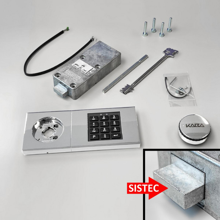 dormakaba Combi B30 Set - 82132 Kaba Mauer B 30, Notschlüssel, Eingabeeinheit chrom glänzend, mit SISTEC Riegel