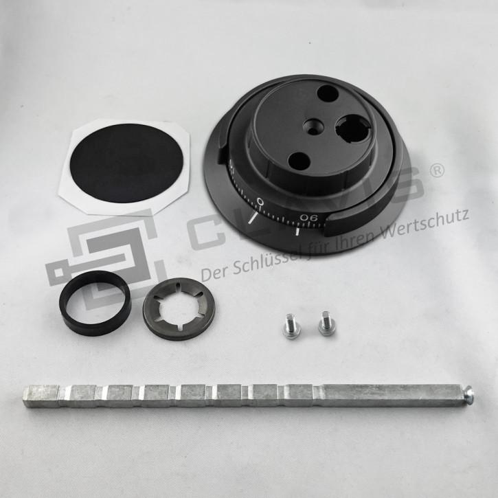 CAWI Drehknopf 7800-101-0 Zahlendrehknopf Metall, schwarze Ausführung