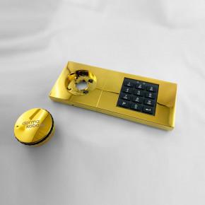 dormakaba Combi B30 Set - 82132 Kaba Mauer B 30, Notschlüssel, Eingabeeinheit vergoldet glänzend, mit SISTEC Riegel